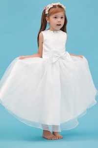 White Scoop Ankle-length Organza Cinderella Pageant Dress with Bowknot