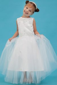 White A-line Scoop Tulle Cinderella Pageant Dresses with Appliques for Cheap