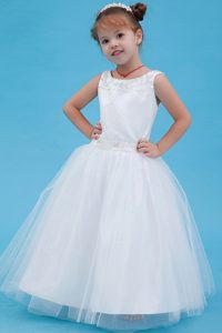 Pretty White Scoop Tulle Beaded Cinderella Pageant Dress on Promotion