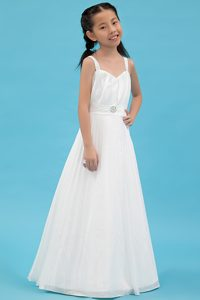 White Ruched Cinderella Pageant Dress