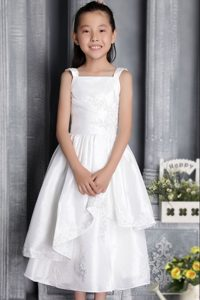 White Square Tea-length Cinderella Pageant Dress with Appliques