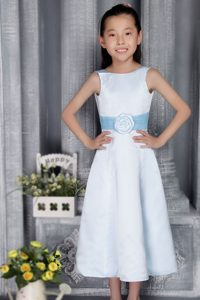 Light Blue A-line Scoop Tea-length Satin Cinderella Pageant Dress on Promotion