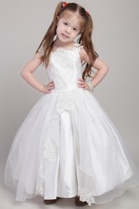 White Ankle-length and Organza Appliqued Cinderella Pageant Dress