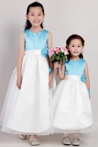 White and Blue Ankle-length and Organza Cinderella Pageant Dress