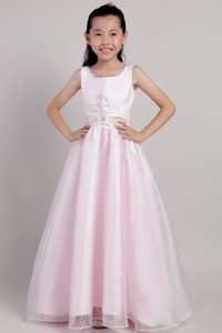 Pink A-line Scoop Ankle-length Cinderella Pageant Dress with Beading for Cheap