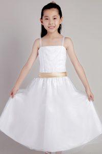 2013 Pretty White Straps Tea-length Tulle Little Cinderella Pageant Dress