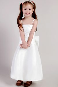 White Straps Ankle-length Satin Cinderella Pageant Dress with Bowknot