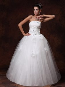 Hot Strapless Beaded Long Bridal Dress with Lace-up in and Tulle