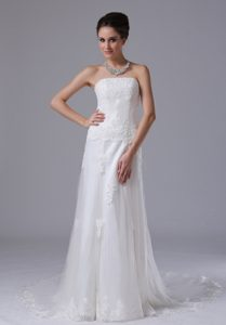 Popular Strapless Lace Tulle White Court Train Bridal Gown with Lace-up