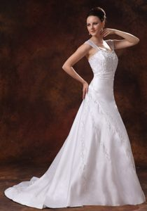 In Style Straps Court Train Lace-up Satin A-line Wedding Dress with Embroidery