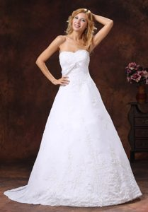 Strapless Wedding Reception Dresses with Brush Train and Embroidery Over Shirt