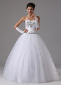 Righteous Ball Gown Beading Decorated Lace-up Sweetheart Bridal Dress