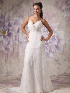 Attractive Sheath Spaghetti Straps Brush Train Bridal Dresses with Beading in Lace