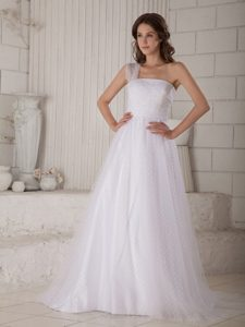 Tasty Princess One Shoulder Wedding Dresses in Special Fabric with Court Train