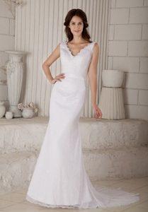 Voguish Mermaid V-neck Court Train Zipper-up Lace Wedding Reception Dress