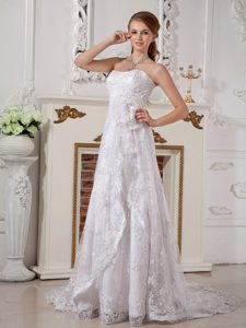 Turn Heads Strapless Brush Train Lace Wedding Dress