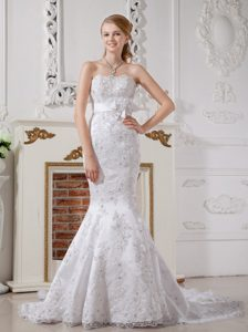 Luxury and Grace Mermaid Strapless Court Train Lace Wedding Reception Dress