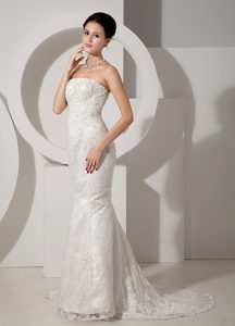 Mermaid Strapless Court Train Shimmery Wedding Gown with Lace and Beading