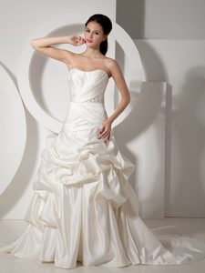 Maxi A-line Strapless Court Train Satin Beading Ruching Wedding Reception Dress