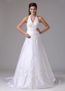 Surprising A-line Halter Top Bridal Gowns with Embroidery and Ruching