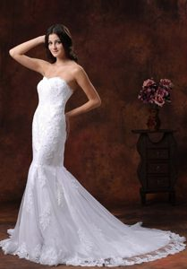 Bright Mermaid Sweetheart Lace Over Decorated Shirt Lace-up Wedding Dress