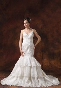 Wholesale Price Mermaid Lace Wedding Reception Dresses with Spaghetti Straps