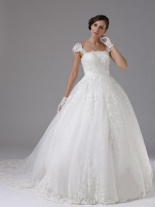 Gorgeous Ball Gown Lace Sash Cap Sleeves Dress for Wedding with Brush Train