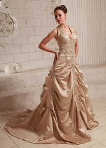 Wonderful Halter Top Champagne Appliqued Bridal Gown with Court Train