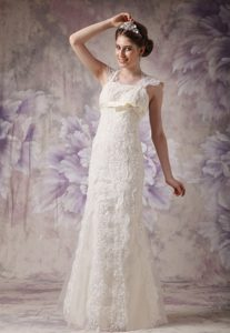 Qualified Straps Long Organza and Lace Dress for Brides with Bow