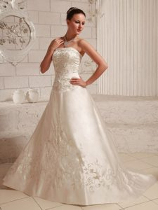 Good Quality Satin Embroidery Over Bodice A-line Court Train Dress for Wedding