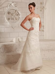 High End Sweetheart Wedding Bridal Gown in Lace and Organza with Brush Train