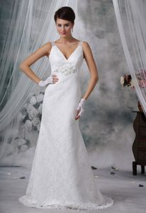 Stunning Beaded V-neck Lace Straps Zipper-up Bridal Gowns with Brush Train