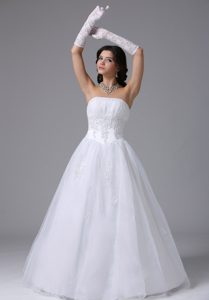 A-line Shimmering Wedding Reception Dresses with Appliques Decorated Waist