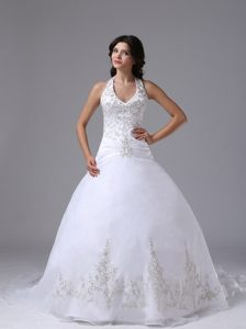 Floating Halter Top Ball Gown Dress for Bride with Embroidery Decorated Bodice