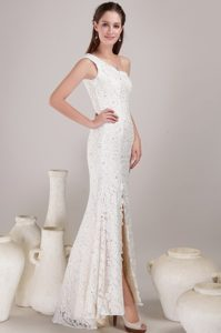 Modest White One Shoulder Lace Beading Wedding Gown with High Slit
