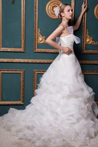 Romantic A-line Strapless Chapel Train Organza Dresses for Wedding with Ruching