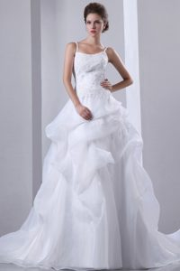 Spaghetti Court Train and Organza Wedding Dresses with Appliques