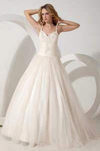 Discount Brush Train Tulle Appliqued Wedding Reception Dress with Straps