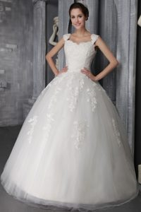 Attractive Tulle and Lace Appliqued Lace-up Bridal Gowns in Floor-length