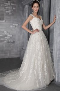 Charming A-line Court Train Lace-up Wedding Dress for Summer under 250