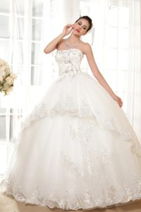 Beautiful Beaded Lace-up Tulle Summer Wedding Bridal Gown with Appliques