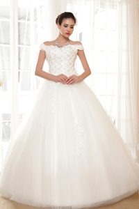 Classical Off The Shoulder Long Tulle Bridal Dress with Lace-up Back