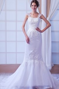 Memorable Appliqued Mermaid Lace-up Bridal Gown with Straps under 250