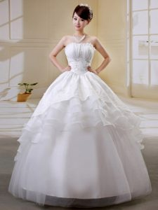 Discount Ruffled and Beaded Organza Zipper-up Long Dress for Brides