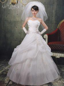 Elegant A-line Appliqued Zipper-up Organza Long Bridal Dress with Pick-ups