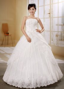 Impressive Plus Size Lace-up Long Beaded Bridal Gown with Appliques