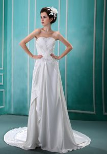 Sweet Ruched and Beaded Sweetheart Court Train Dress for Wedding