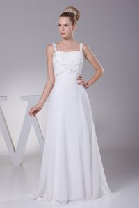 Ruched and Beaded Brush Train Modern Chiffon Wedding Dress with Straps