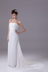 Strapless Ruched 2013 Popular Wedding Dress with Sweep Train and Flowers