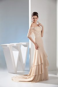 Fabulous Champagne Off-the-shoulder Wedding Reception Dress with Beading
